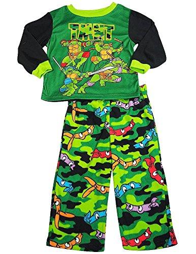 Teenage Mutant Ninja Turtles - Little Boys Long Sleeve Fleece Turtle Pajamas, Green, Black (Ninja Turtle Baby Stuff)