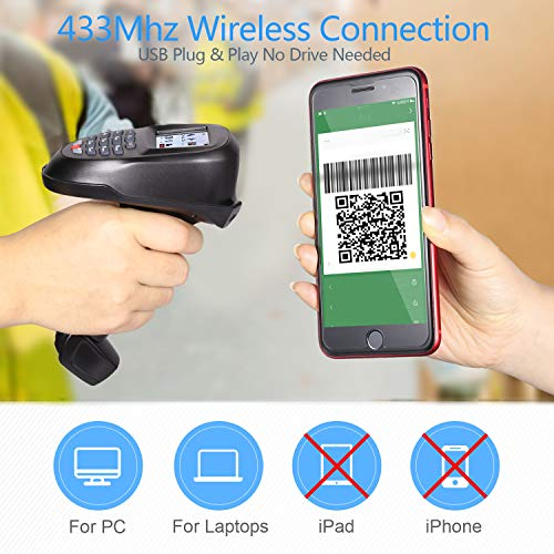 TroheStar Barcode Scanner 1D/2D/QR/PDF417 Wireless and Collector Portable Data Terminal Inventory Device Bar Code Reader PDT with TFT Color LCD Screen & USB Cradle Receiver Charging Base by Trohestar (Image #1)
