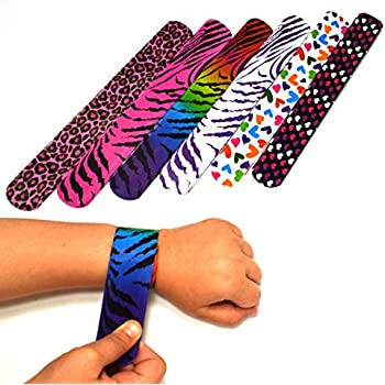 50 Mega Pack Slap Bracelets | Slap Bands Birthday Party Supplies Favors with Hearts & Animal Print | One Size Fits All | For Kids, Boys, And Girls | By Dazzling Toys