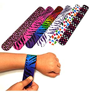 - 51kMl9abOtL - 25 Mega Pack Slap Bracelets | Slap Bands Birthday Party Supplies Favors with Hearts & Animal Print | One Size Fits All | For Kids, Boys, And Girls | By Dazzling Toys