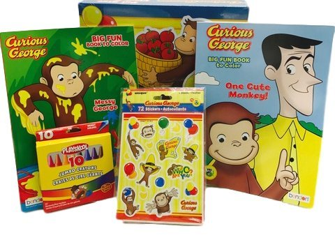 Curious George Colour - 2 Curious George Monkey Big Fun to Color Coloring Books, 31 Inch 46 Pc Pal Size Puzzle, Playskool Crayons, 72 Stickers Bundle 5 Items