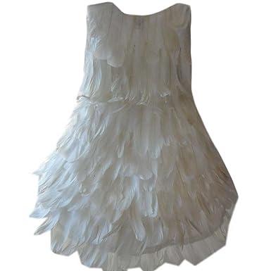 Amazon.com: Disfraz de ángel blanco para niñas, pluma blanca ...
