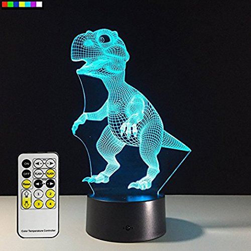 Cheap MJDUO-3D Remote Control Touch Night Light, Illusion 7 Color LED Changing Light, Customized Photos, Anime, Movies, Animals, Group photos, All photos. Personalized Gifts (dinosaur)
