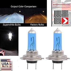 WTG H7 1 PAIR 100W Super White Xenon Halogen OEM Headlight Light Bulbs (H7-100w)