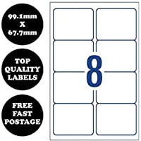 [8 Per Page] A4 Self Adhesive Address Labels Laser Inkjet Print Mailing Stickers Avery Compatible Label 100 Sheets