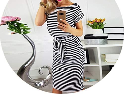 Summer Dress Women Vintage Draped Sexyvestidos Striped Short Sleeve Slim Dresses,Black Striped,L -