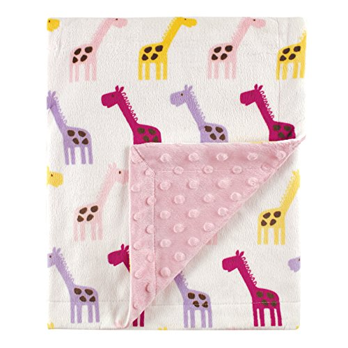 Hudson Baby Printed Mink Blanket with Dotted Backing, Pink - Blanket Baby Giraffe