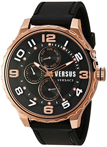 Versus by Versace Men's 'Globe' Quartz Stainless Steel and Rubber Casual Watch, Color:Black (Model: SBA100015)