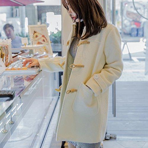 Blanco Coreana con Horn Chaqueta de YAANCUN con de de las Mujeres Invierno Versión de Abrigo Moda Estilo Mujeres Botones ZZqxfUFwOn