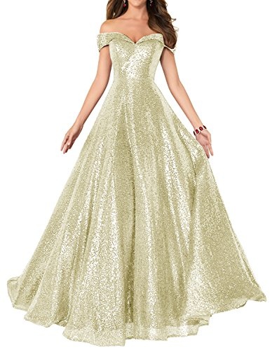 2018 Off Shoulder Sequined Prom Dresses for Women A Line Cocktail Dresses Empire Waist Formal Evening Skirts Long Elegant Gowns SHPD41 Champagne Without Beads Size (Empire Champagne)