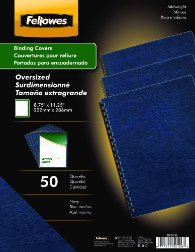 Fellowes Binding Presentation Covers, Oversize Letter, Navy, 50 Pack (52126)