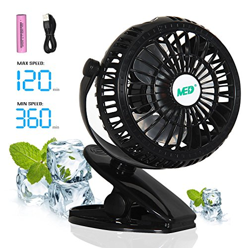 Mini Battery Operated Clip Fan,Sall Portable Fan Powered by Rechargeable Battery or USB Desk Personal Fan for Baby Stroller Car Gym Workout Camping,Green (black)]()