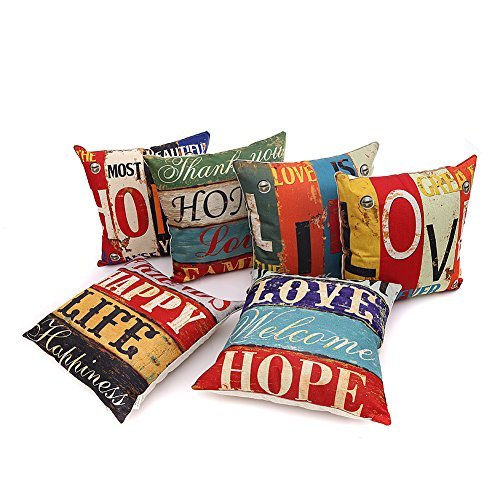 HOSL PCom03 LOVE Series Decorative Cushion Cover Square Throw Pillow Case Set of 6 - LOVE and HOPE