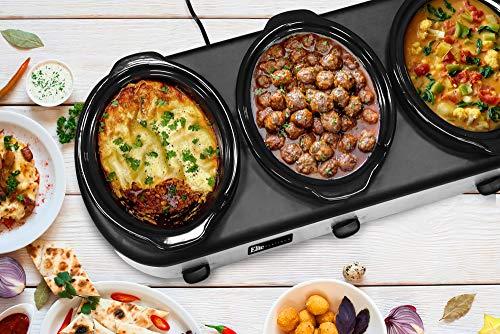Elite Platinum EWMST-612 Triple Slow Cooker Buffet Server, Adjustable Temp Dishwasher-Safe Oval Ceramic Pots, Lid Rests, 3 x 2.5Qt Capacity, 7.5 QT, Stainless Steel