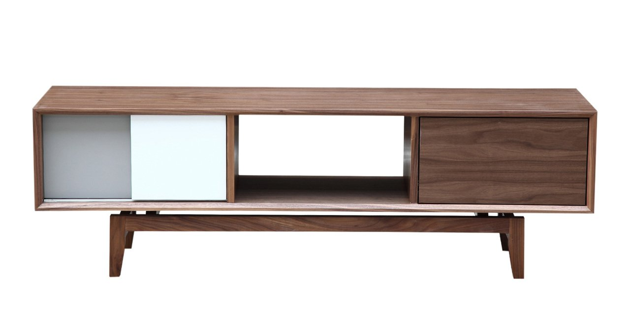 Kardiel Platform Modern Credenza /Media TV Cabinet, Walnut Wood