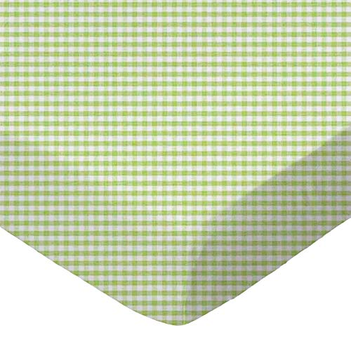 (SheetWorld Fitted Basket Sheet 13 x 27 - Sage Gingham Jersey Knit - Made in USA)