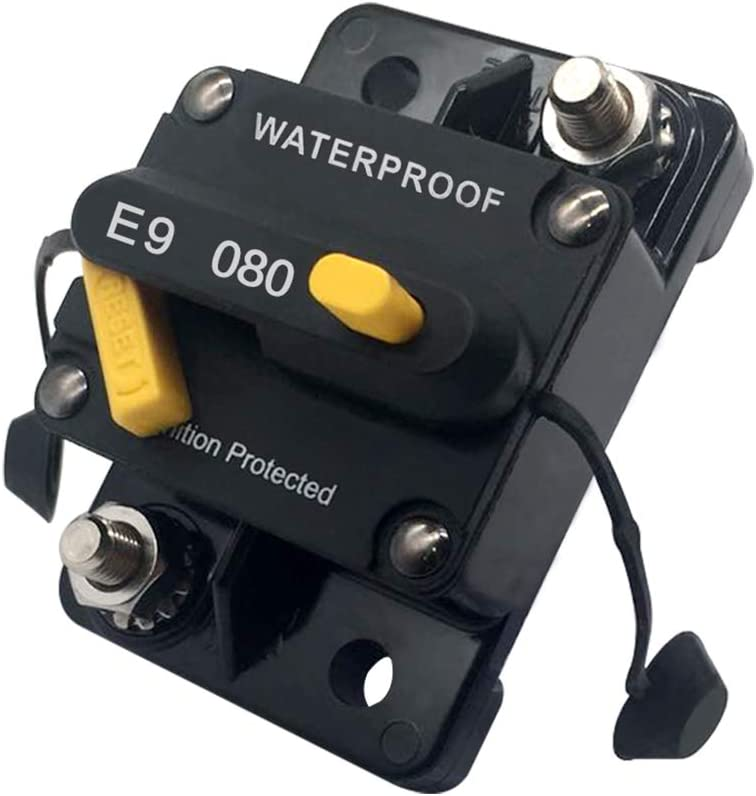 80 amp Circuit Breaker for Trolling Motor UTV Minivan RV Marine Boat Solar Panel Battery Bank Inverter Circuit Breakers with Manual Trip Button Switch 12V – 72V DC