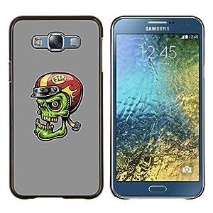 TECHCASE---Cubierta de la caja de protección para la piel dura ** Samsung Galaxy E7 E700 ** --Divertido Verde Zombie motorista