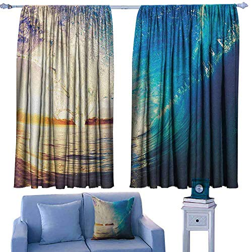 Mannwarehouse Ocean Privacy Curtain Sunrise on Waves Surfer Perspective Surreal Coastal Charm Sports Lifestyle Scene 70%-80% Light Shading, 2 Panels,55