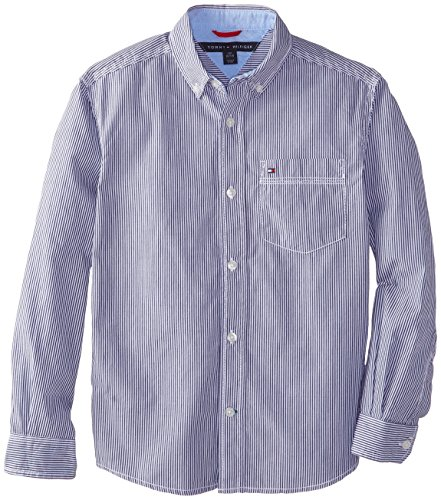 Tommy Hilfiger Big Boys' Long Sleeve Tommy Stripe, Flag Blue, - Tommy Shirt Oxford Hilfiger