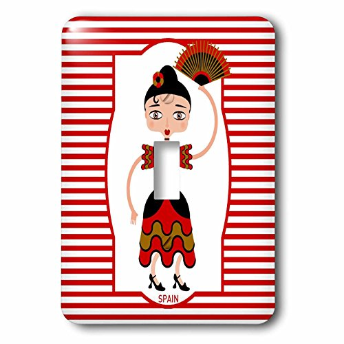 3dRose lsp_160621_1 Spain is Represented by a Flamenco Dancer,Flamenco is Spanish Popular Folk Music Light Switch Cover by 3dRose