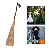 Unomor Halloween Witches Broom 42''/105cm Crooked Stick Straw Broom Witch Halloween Costume Accessory Decorations