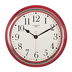 Studio Designs Home 73005 19 Vintage Metal Wall Clock,Red