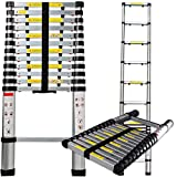 Aluminum Telescopic Extension Ladder (12.5 Ft Telescope) - EN131 Certified - Extendable Telescoping Extendable with Spring Load Locking Mechanism Non-Slip - 330 lb Max Capacity