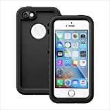 """iPhone SE Waterproof Case, Vcloo® 6.6ft(2M)iPhone 5S Underwater Case, Dust Proof, Snow Proof, Shockproof Duty Touch Screen Full Body Protective Carrying Case Cover for iPhone 5/SE/5S,4.0"""" (Black)"""