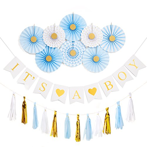 PREMIUM Baby Boy Shower Decorations - All in One Set Boys | Its A Boy Banner Tissue Paper Fans Tassels Gold Foil Decor | Hanging Supplies Party Decorations Kit for Newborn Baby Gender Reveal Parties