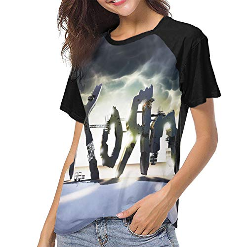 (RodneyLRobbins Korn The Path of Totality Women Comfort Baseball Short Sleeves T-Shirt Raglan Sleeve Shirts L Black)