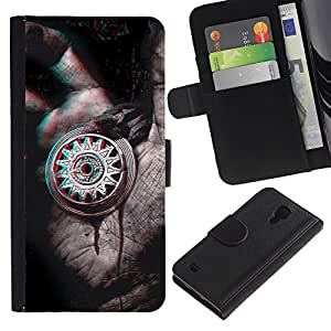 iKiki Tech / Cartera Funda Carcasa - 3D Art Hand Drawing Grey Medallion Pencil - Samsung Galaxy S4 IV I9500