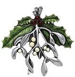 Danforth - Mistletoe & Holly Brooch Pin