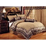 Neutral Brown / Black Comforter Set Elk / Deer Animal Print Tapestry Bed In A Bag Twin Size Bedding