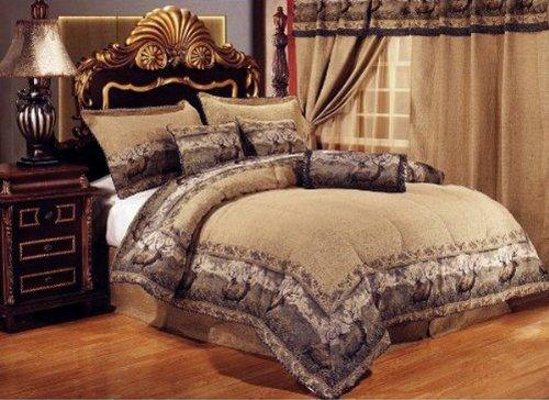 Neutral Brown / Black Comforter Set Elk / Deer Animal Print
