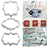 3Pcs Plaque Cutter Cookies Frame Cake Oval Square Rectangle Fancy Stainless Mold^.