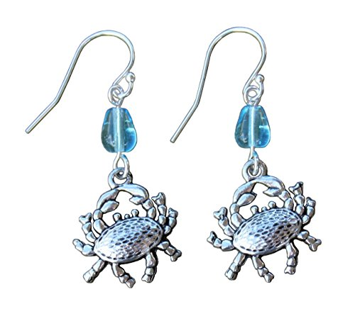 Happy Crab Earrings - Pewter Crustacean Charms, Aqua Blue Glass Water Drop Beads, Sterling Silver Hooks