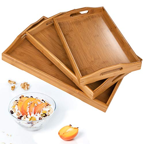 Serving Tray,Wood Serving Tray with Handles Boobam Serving Tray Set for Food,Breakfast,Dinner,Ottoman Coffee Table, Parties,Restaurants(3 Pack)
