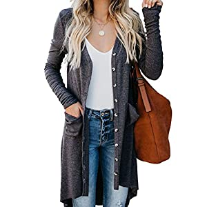 Sidefeel Women Long Sleeve Solid Color Button Down Knit Ribbed Cardigans Outwear