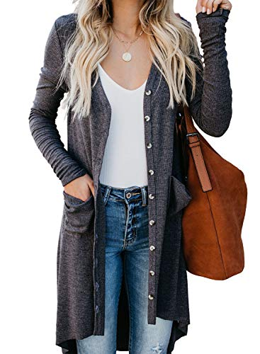 Sidefeel Women Long Sleeve Solid Color Button Down Knit Ribbed Cardigans Outwear Large Gray