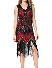Sequin Dress,Womens Retro V Neck 1920s Sequined Inspired Beaded Flapper Evening Prom Party Dresses With Tassel