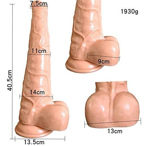 LLJF Dildo Waterproof With suction cup Women Massage Wand Large Simulation horse penis Secret packaging , flesh color by LLJF