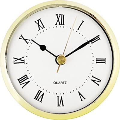 "3-1/2"" White Roman Clock Insert - Fancy white roman clock insert Overall diameter: 3-1/2"" Mounting Depth: 13/16"" - wall-clocks, living-room-decor, living-room - 51kMqbXISkL. SS400  -"