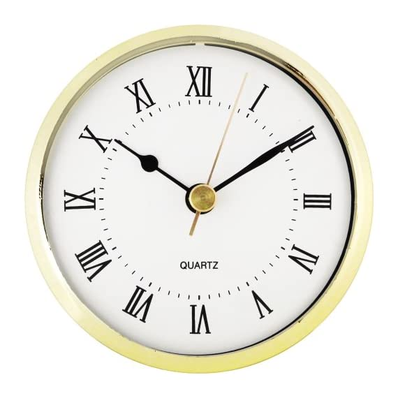 "3-1/2"" White Roman Clock Insert - Fancy white roman clock insert Overall diameter: 3-1/2"" Mounting Depth: 13/16"" - wall-clocks, living-room-decor, living-room - 51kMqbXISkL. SS570  -"