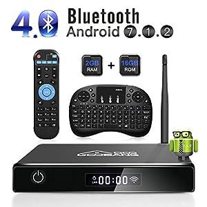 GooBang Doo XB-III Android 7.1 TV Box, 2GB RAM 16GB ROM Amlogic Quad Core 64 Bits Processor 3D 4K Bluetooth with i10 mini Keyboard - Black