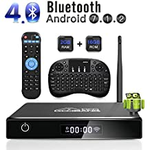 GooBang Doo XB-III Android 7.1 TV Box, 2GB RAM 16GB ROM Amlogic Quad Core 64 Bits Processor 3D 4K Bluetooth with i10 mini Keyboard - Black