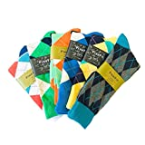 Fine Fit Men's Colorful Arygle or Stripe Dress Socks (6 Pairs) (One Size, AR-Y-I)