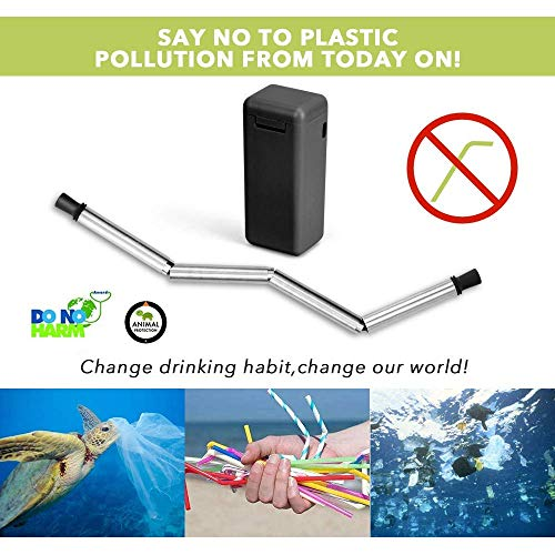 FlipSip Straw - Reusable, Collapsible, Stainless Steel Metal Drinking Straw w/Hard storage Case and Cleaning Brush by FlipSip Straw (Image #3)