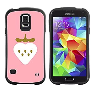 Suave TPU Caso Carcasa de Caucho Funda para Samsung Galaxy S5 SM-G900 / Strawberry Art Pink Drawing Watercolor / STRONG