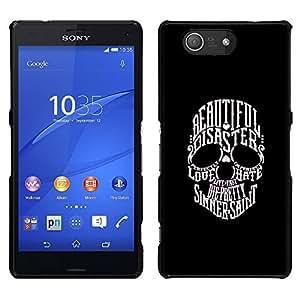 Sony Xperia Z3 Compact / Z3 Mini (Not Z3) , JackGot - Impreso colorido protector duro espalda Funda piel de Shell (Hermosa Sinner San Cráneo Negro Blanco)